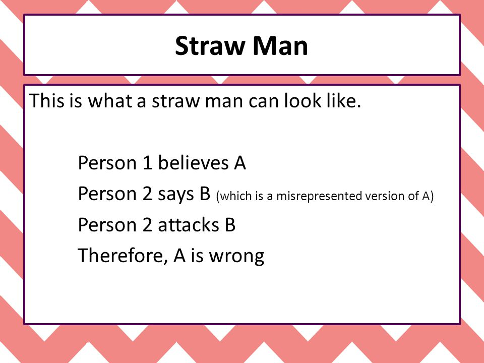 Straw Man This is what a straw man can look like. Person 1 believes A