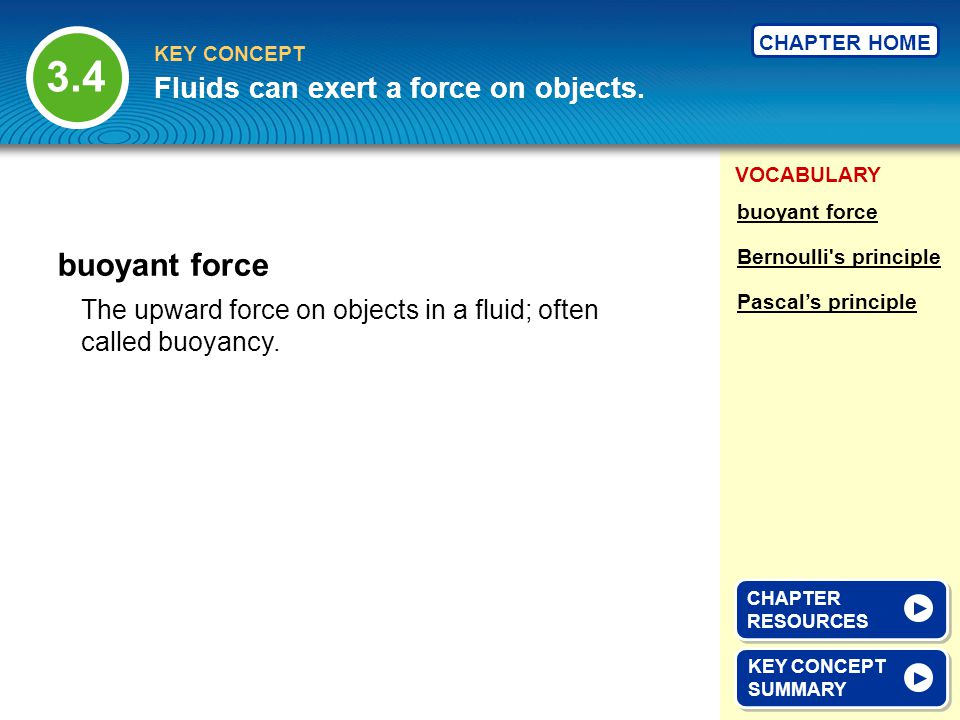 3.4 buoyant force Fluids can exert a force on objects.