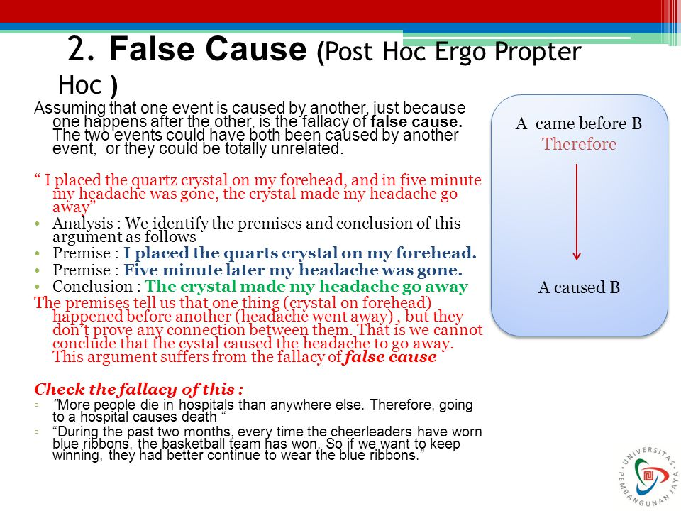 2. False Cause (Post Hoc Ergo Propter Hoc )