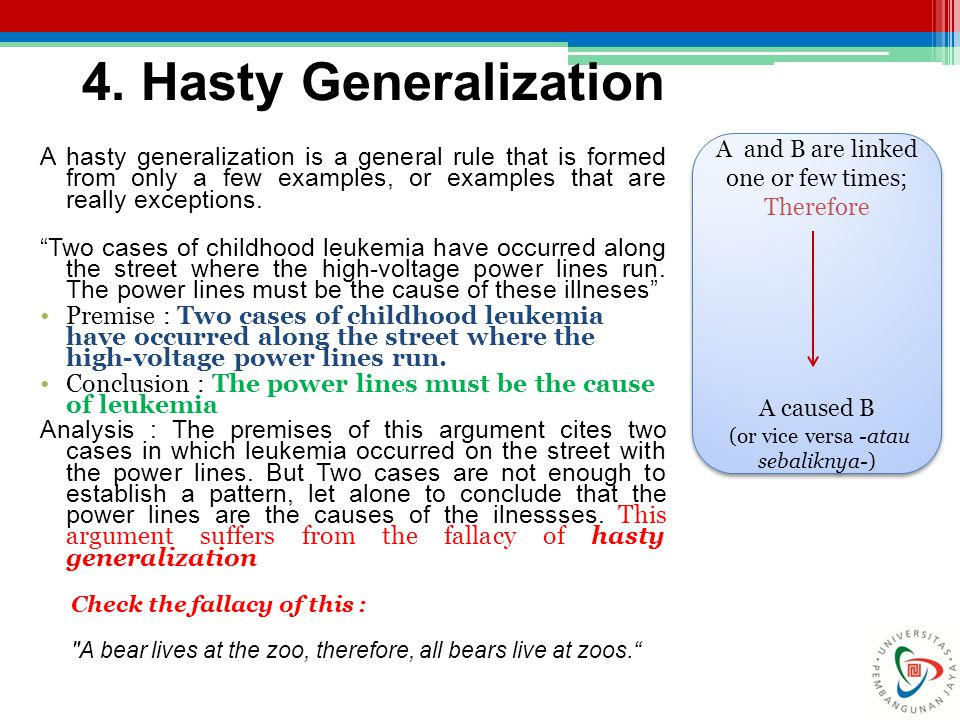 4. Hasty Generalization A and B are linked one or few times; Therefore. A caused B. (or vice versa -atau sebaliknya-)