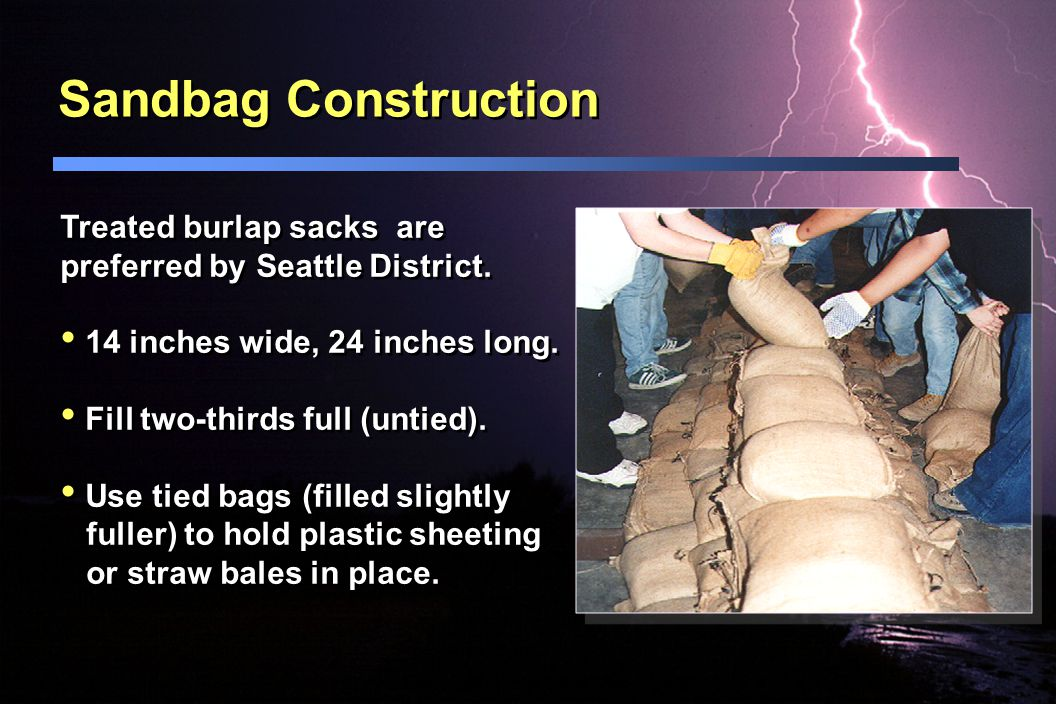 Sandbag Construction Treated burlap sacks are preferred by Seattle District. 14 inches wide, 24 inches long.