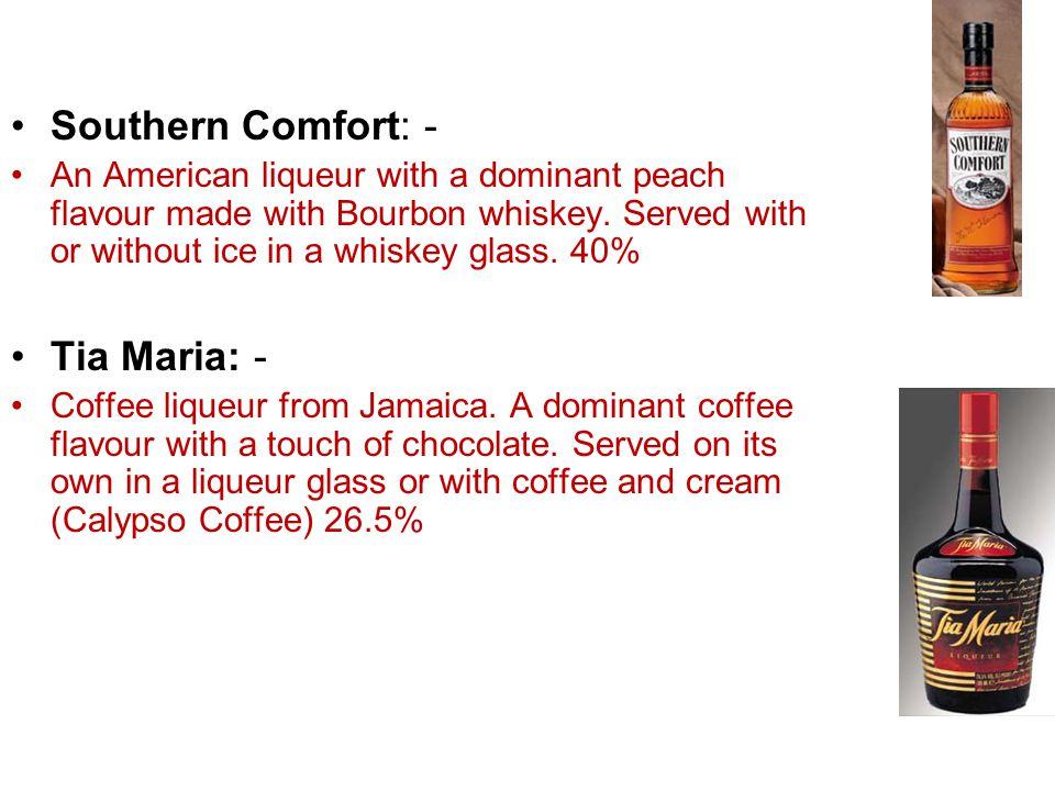 Southern Comfort: - Tia Maria: -