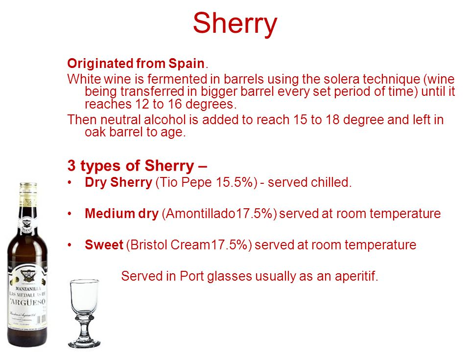 Sherry 3 types of Sherry – Originated from Spain.