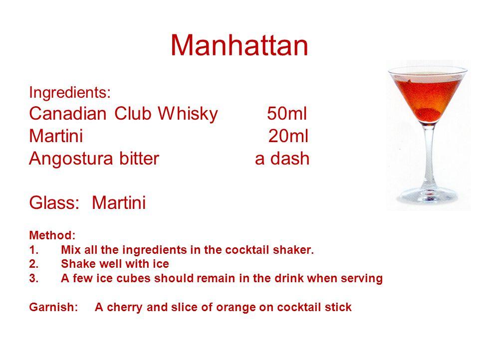 Manhattan Canadian Club Whisky 50ml Martini 20ml