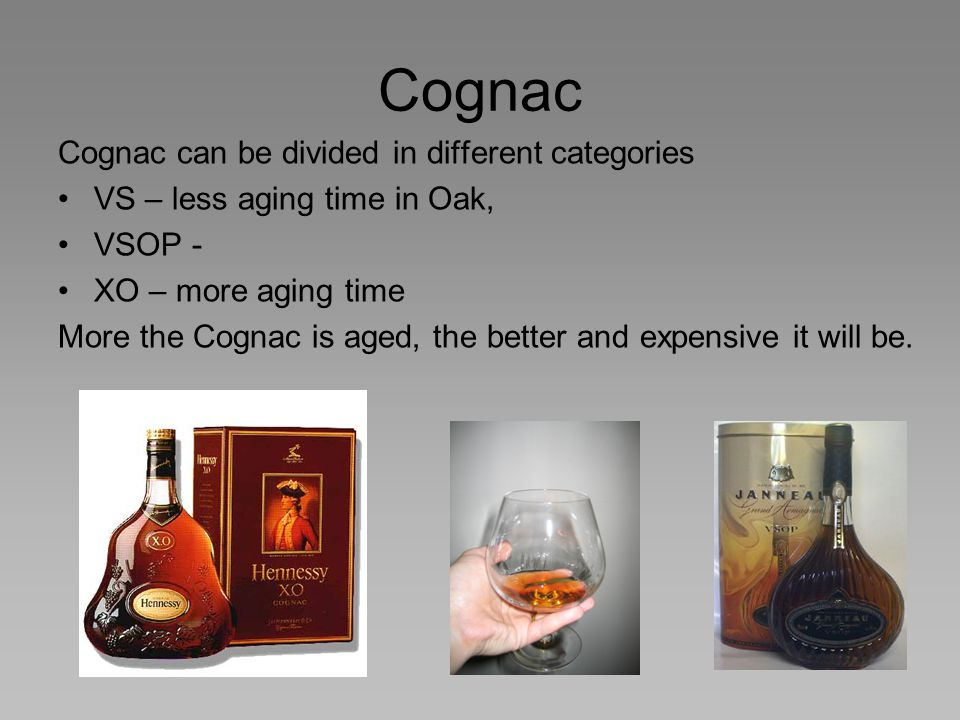 Cognac Cognac can be divided in different categories