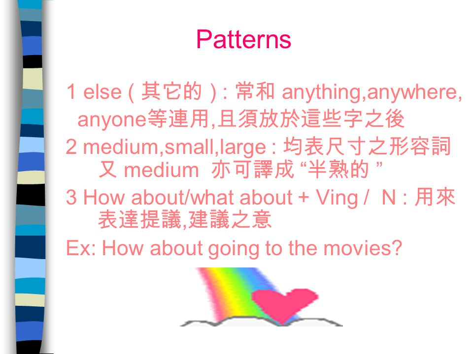 Patterns 1 else ( 其它的 ) : 常和 anything,anywhere, anyone等連用,且須放於這些字之後