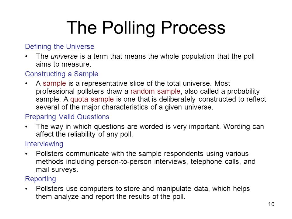 The Polling Process Defining the Universe