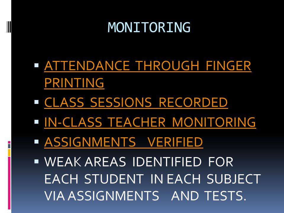 MONITORING ATTENDANCE THROUGH FINGER PRINTING CLASS SESSIONS RECORDED