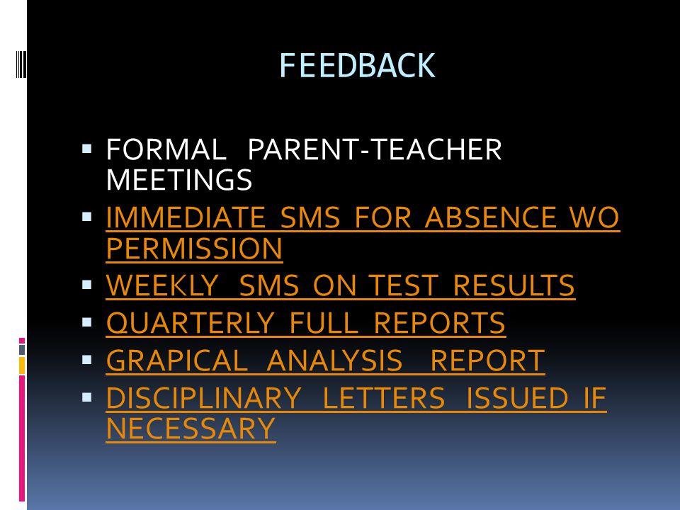 FEEDBACK FORMAL PARENT-TEACHER MEETINGS