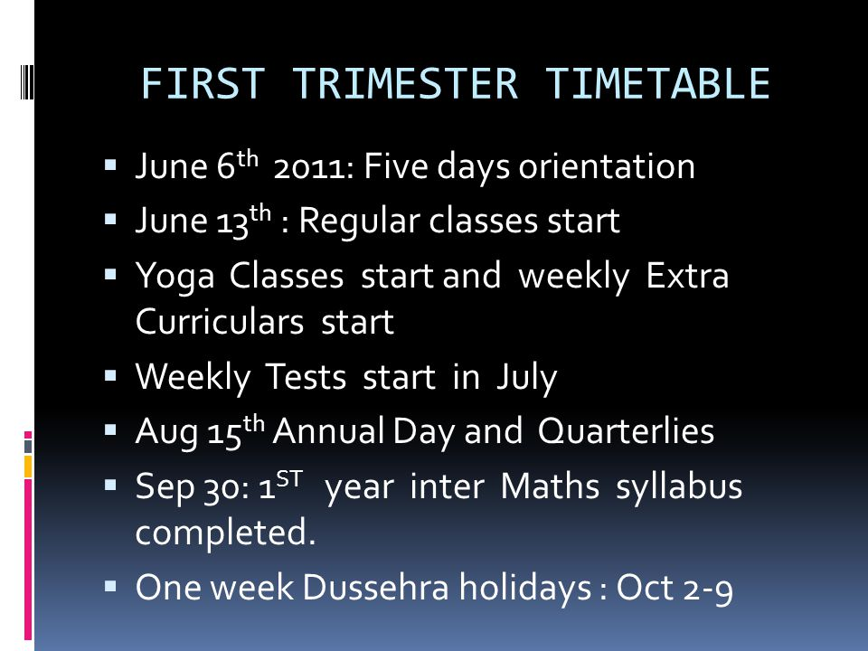 FIRST TRIMESTER TIMETABLE