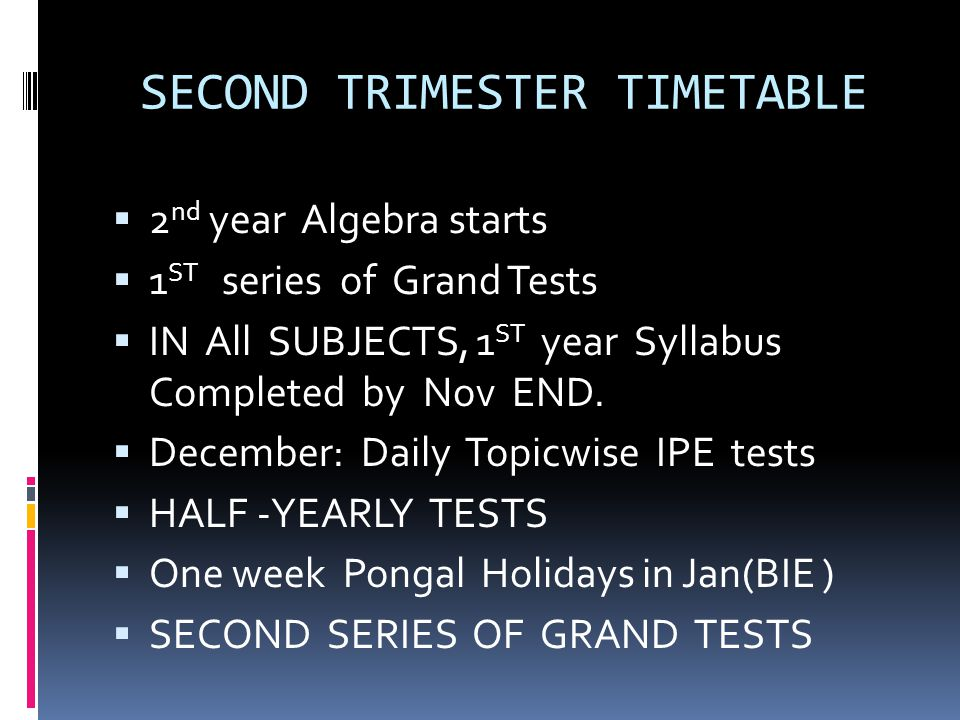 SECOND TRIMESTER TIMETABLE