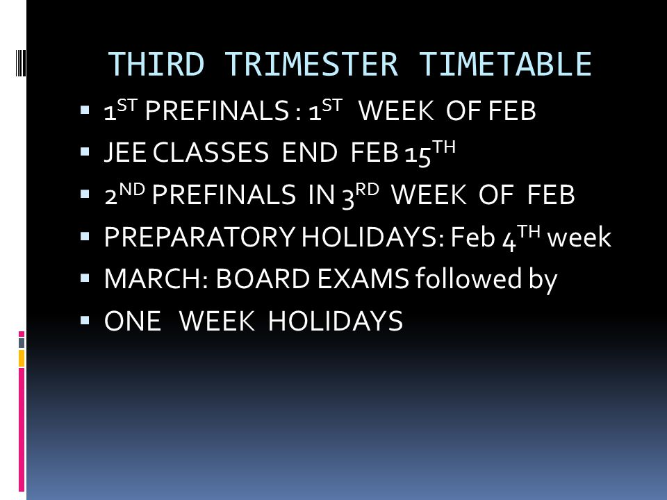 THIRD TRIMESTER TIMETABLE