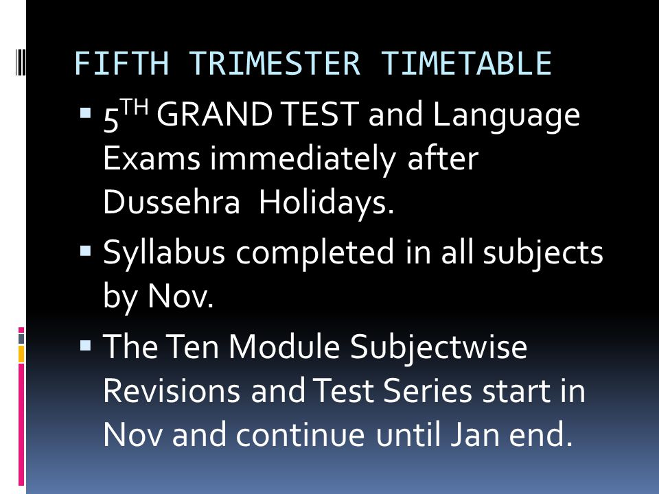 FIFTH TRIMESTER TIMETABLE