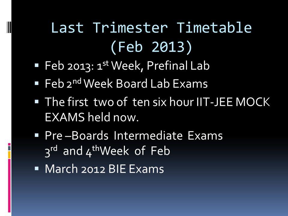 Last Trimester Timetable (Feb 2013)