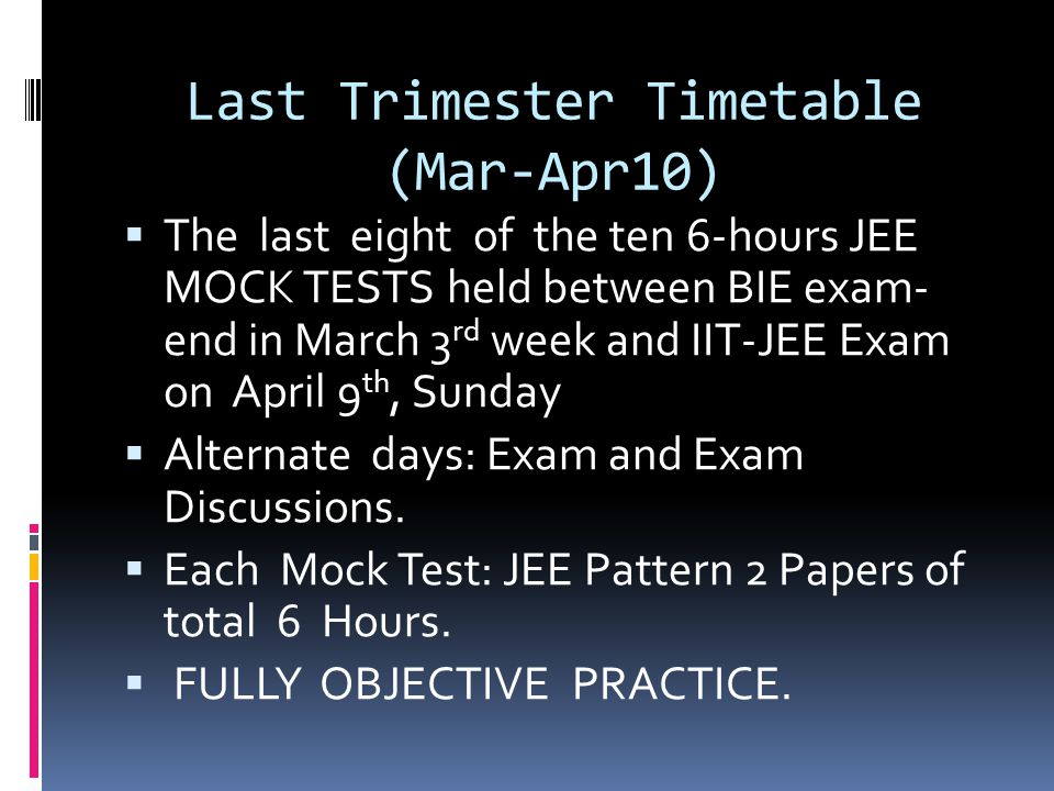 Last Trimester Timetable (Mar-Apr10)