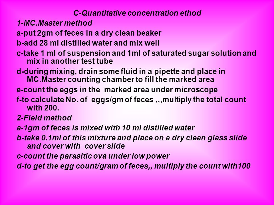 C-Quantitative concentration ethod