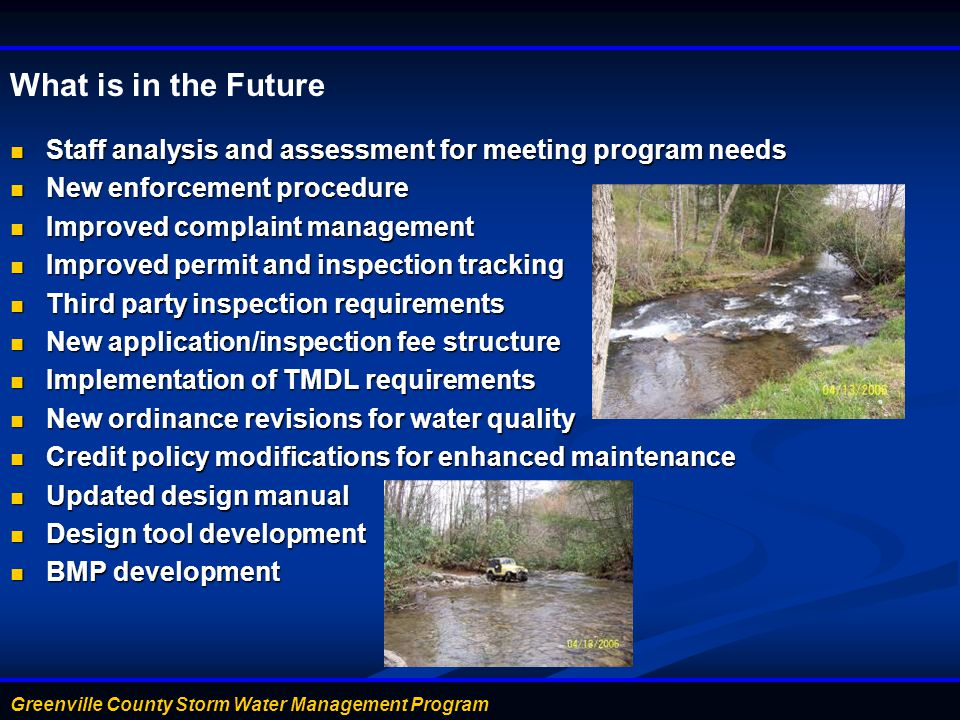 What is in the Future Staff analysis and assessment for meeting program needs. New enforcement procedure.