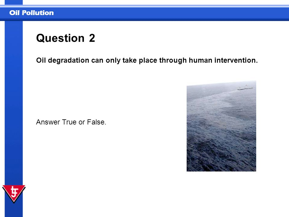 Question 2 Oil degradation can only take place through human intervention. Answer True or False.