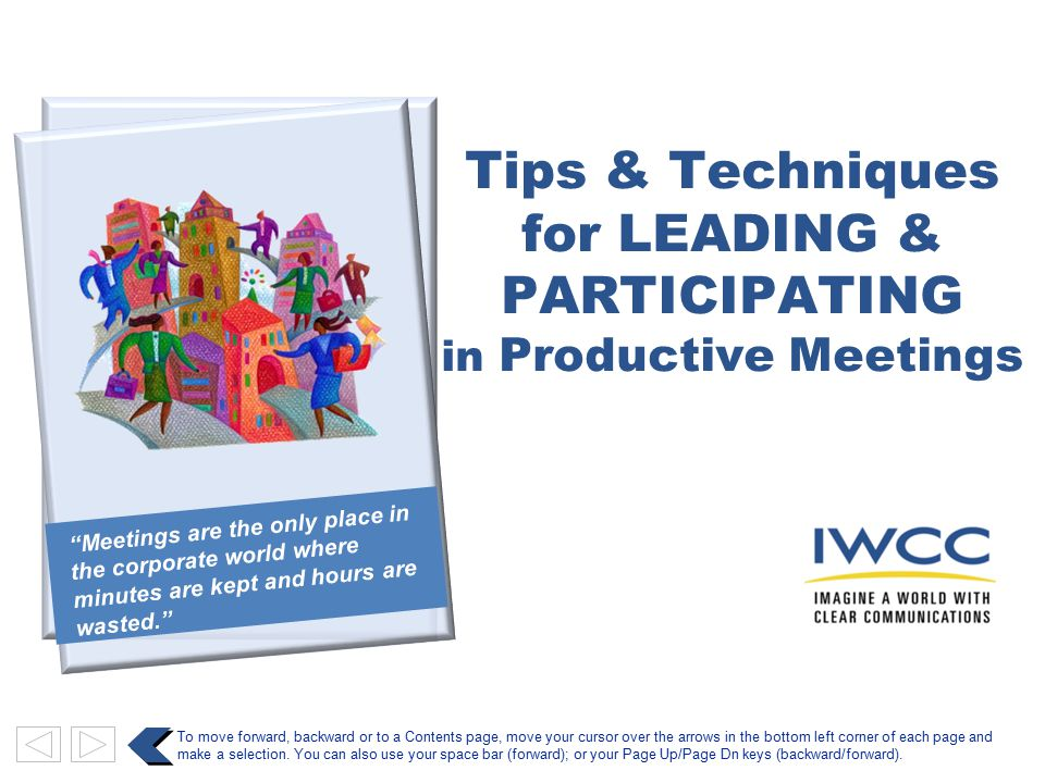 for LEADING & PARTICIPATING in Productive Meetings