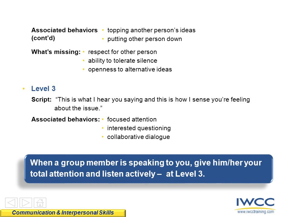 Associated behaviors (cont'd) topping another person's ideas. putting other person down. What's missing: