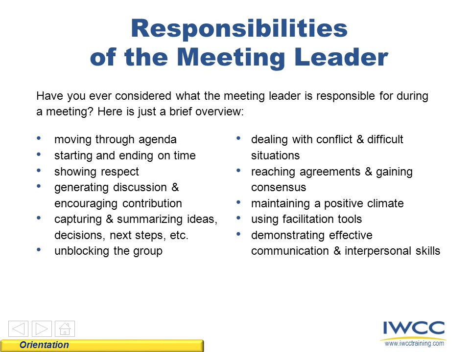 Responsibilities of the Meeting Leader