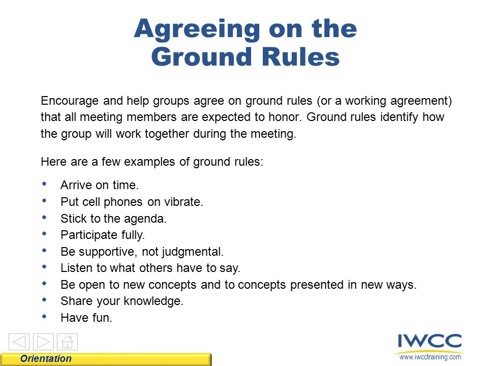 Agreeing on the Ground Rules