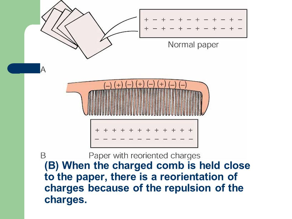 (B) When the charged comb is held close to the paper, there is a reorientation of charges because of the repulsion of the charges.