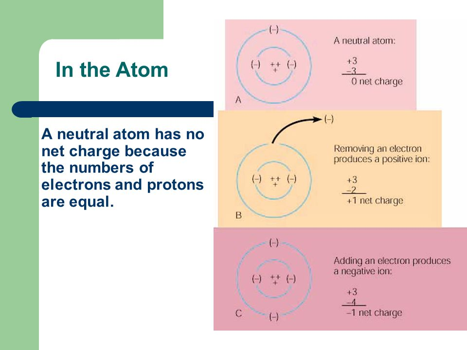 In the Atom A neutral atom has no net charge because the numbers of electrons and protons are equal.