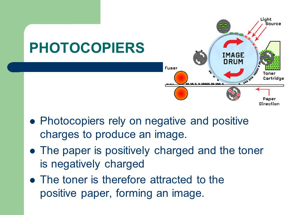 PHOTOCOPIERS Photocopiers rely on negative and positive charges to produce an image.