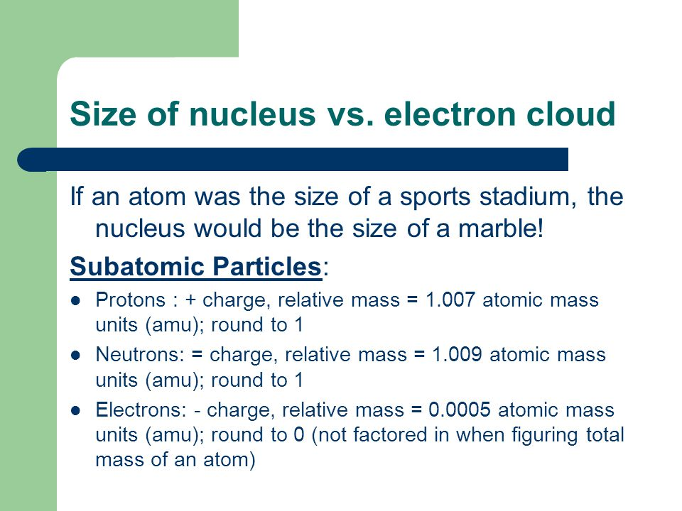 Size of nucleus vs. electron cloud
