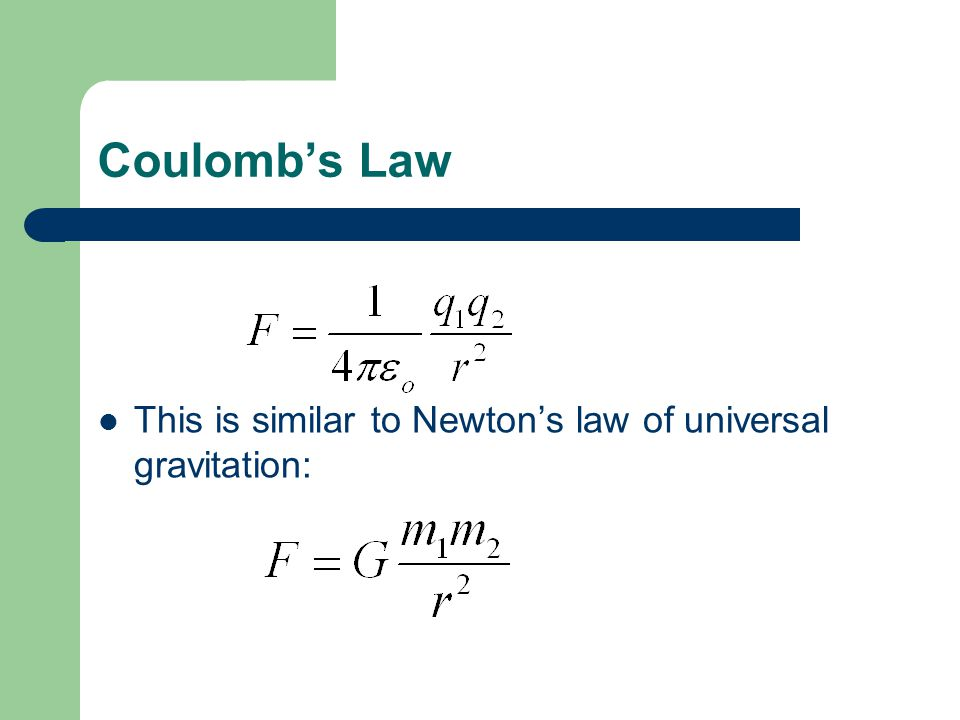 Coulomb's Law This is similar to Newton's law of universal gravitation: