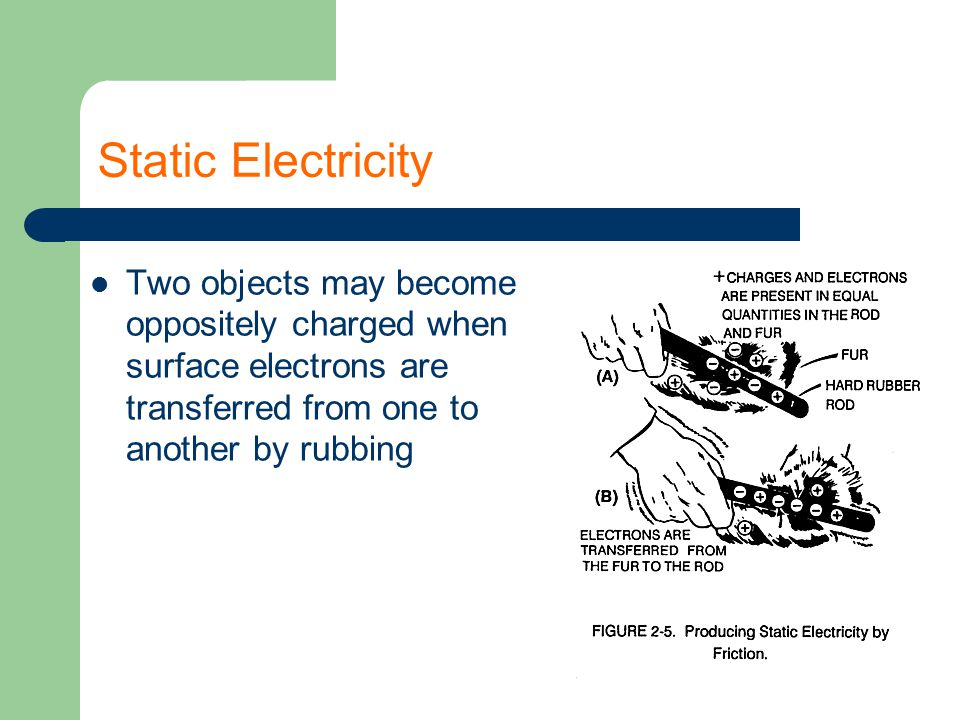 Static Electricity Two objects may become oppositely charged when surface electrons are transferred from one to another by rubbing.
