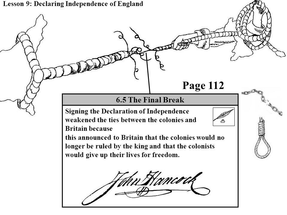 Lesson 9: Declaring Independence of England