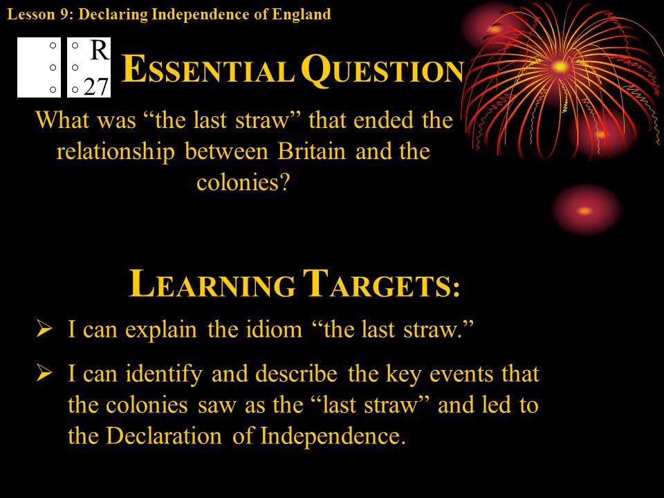ESSENTIAL QUESTION LEARNING TARGETS: R 27