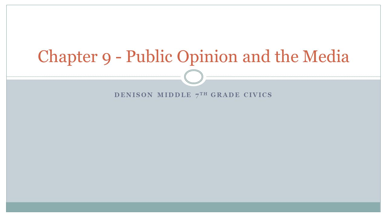 Chapter 9 - Public Opinion and the Media