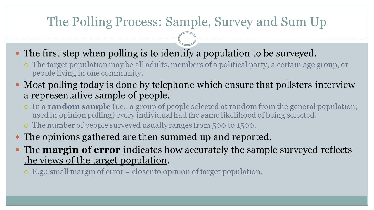 The Polling Process: Sample, Survey and Sum Up