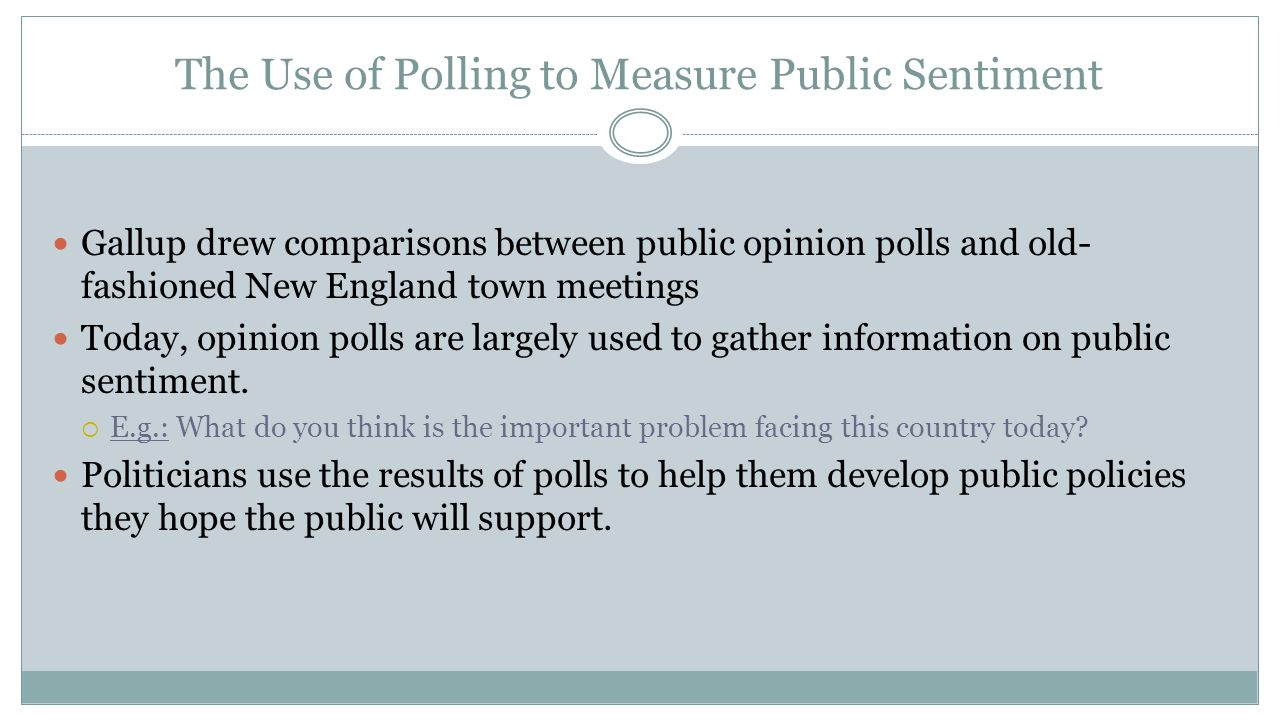 The Use of Polling to Measure Public Sentiment