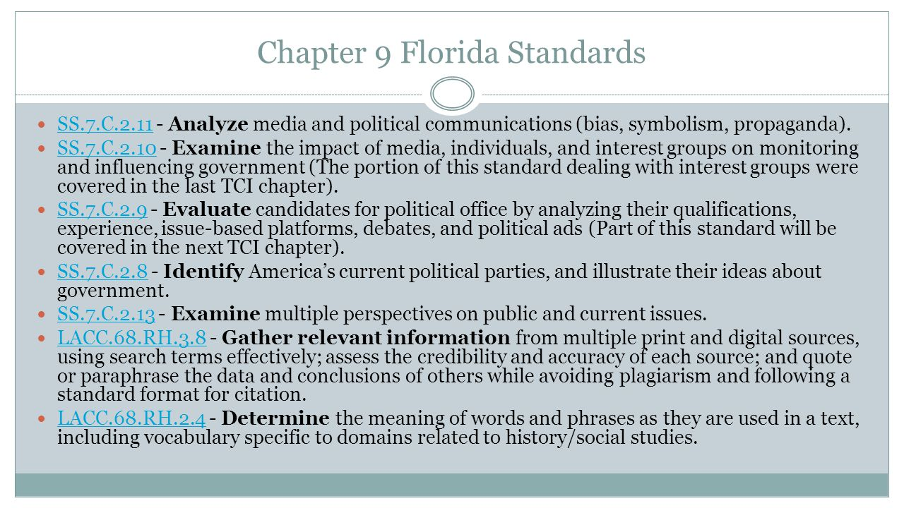 Chapter 9 Florida Standards