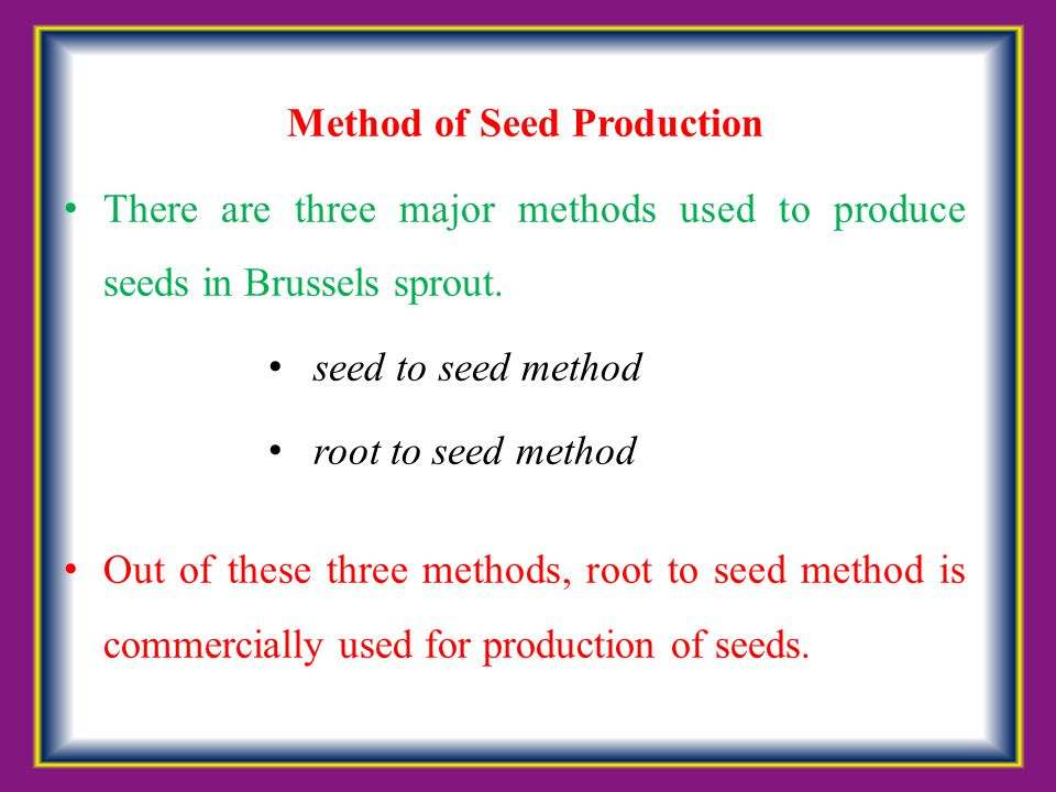 Method of Seed Production