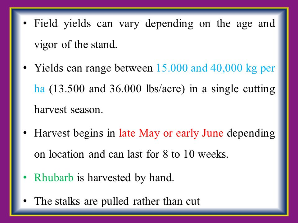 Field yields can vary depending on the age and vigor of the stand.