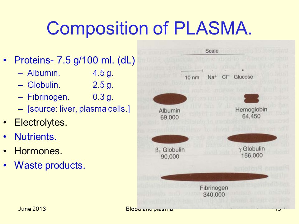 Composition of PLASMA. Proteins- 7.5 g/100 ml. (dL) Electrolytes.