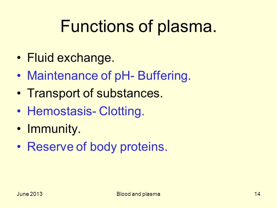 Functions of plasma. Fluid exchange. Maintenance of pH- Buffering.