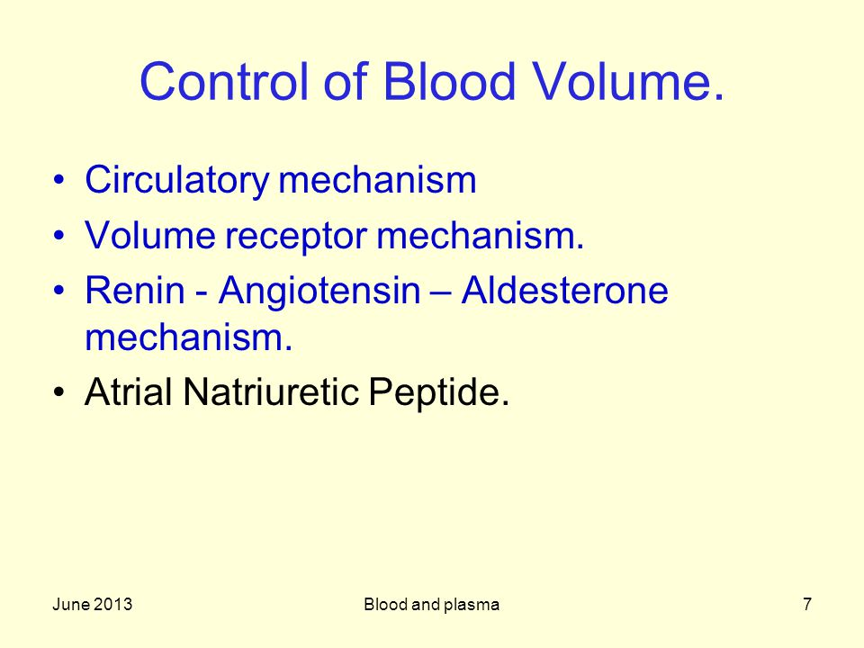 Control of Blood Volume.