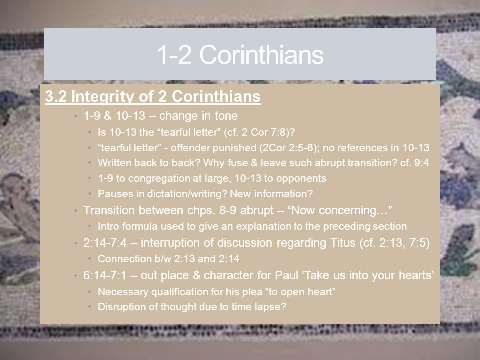 1-2 Corinthians 3.2 Integrity of 2 Corinthians
