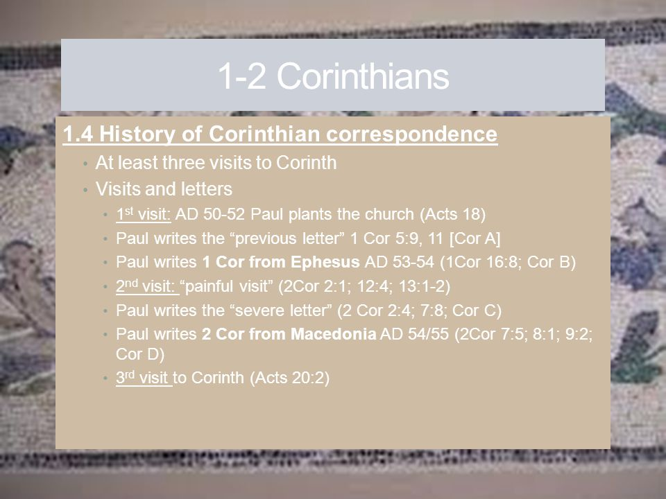 1-2 Corinthians 1.4 History of Corinthian correspondence