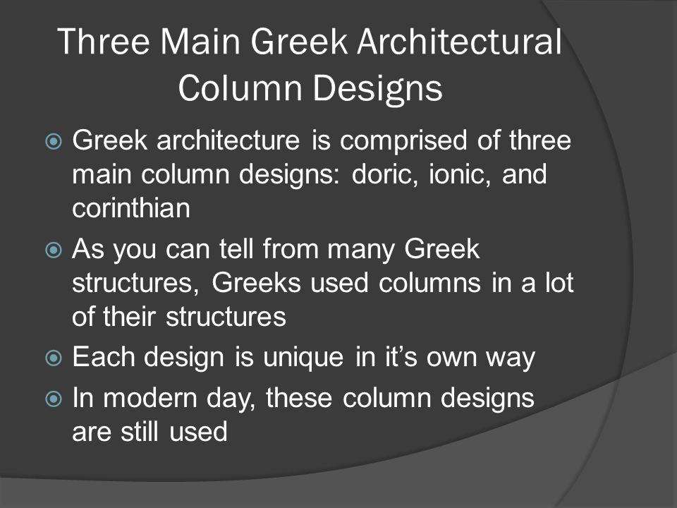 Three Main Greek Architectural Column Designs