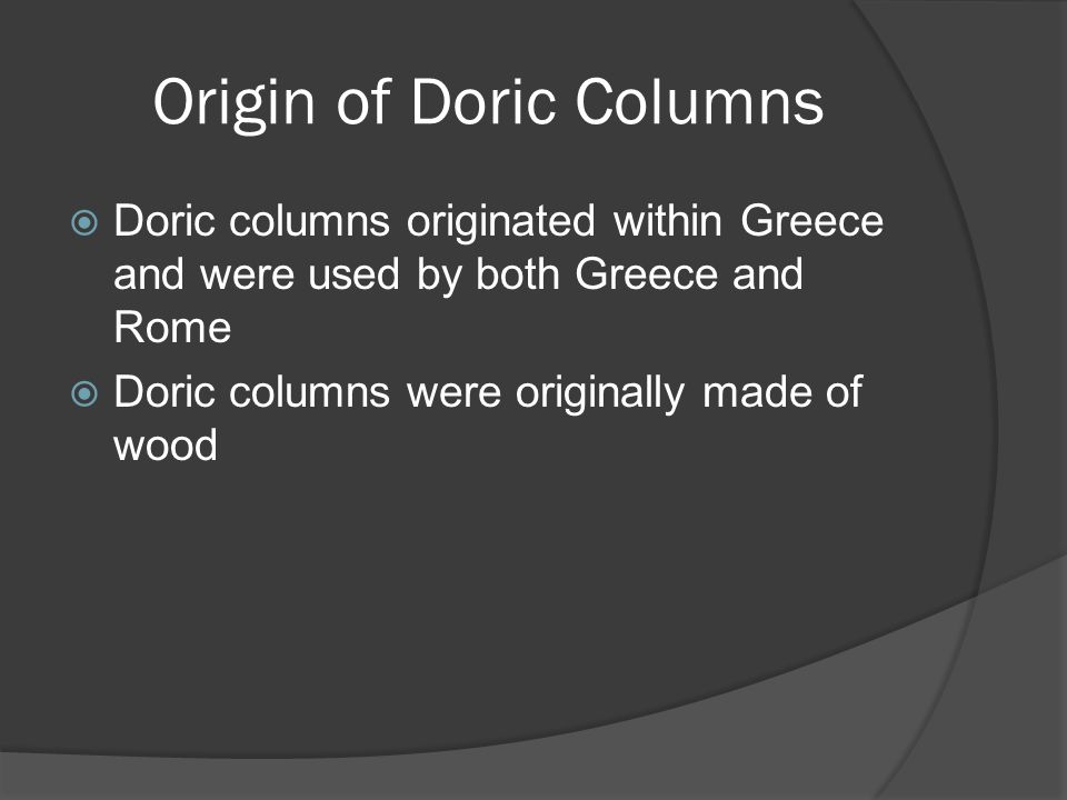 Origin of Doric Columns