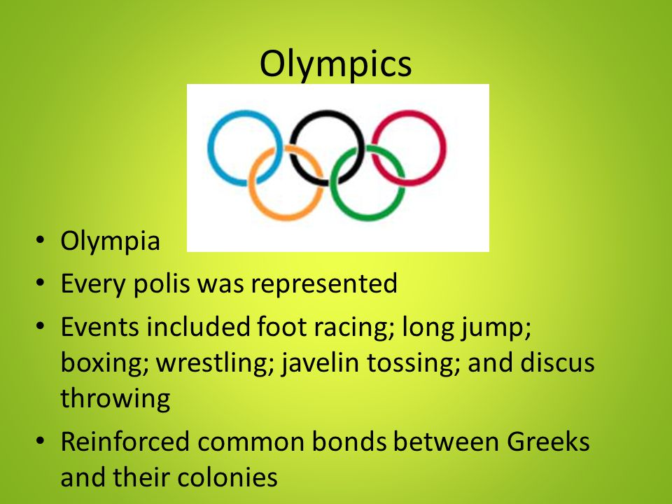 Olympics Olympia Every polis was represented