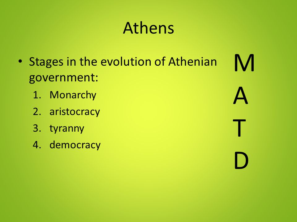 M A T D Athens Stages in the evolution of Athenian government: