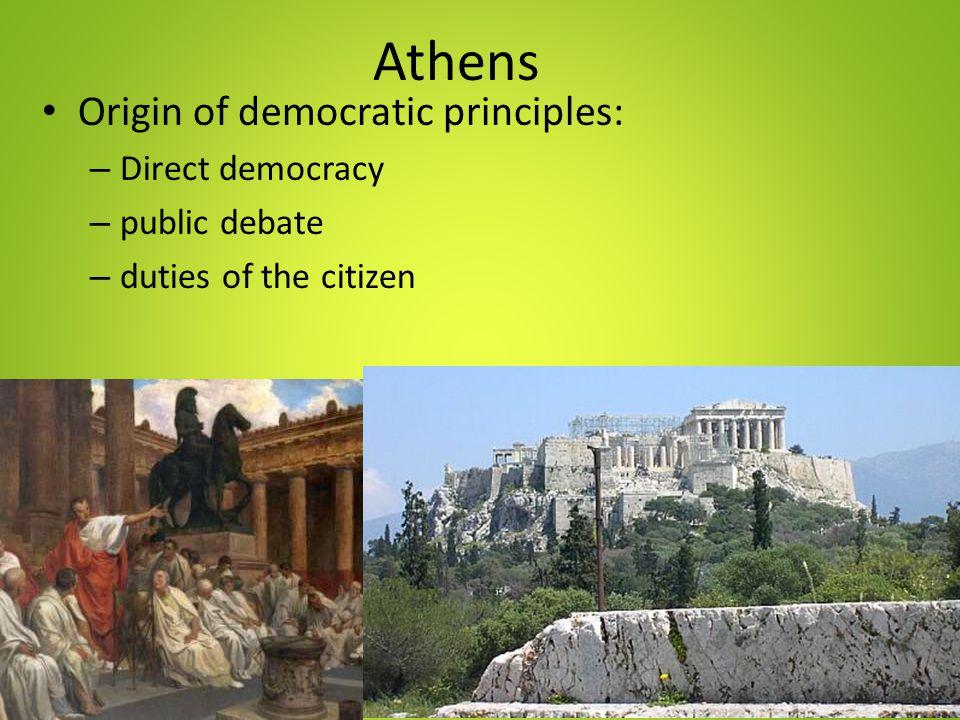 Athens Origin of democratic principles: Direct democracy public debate